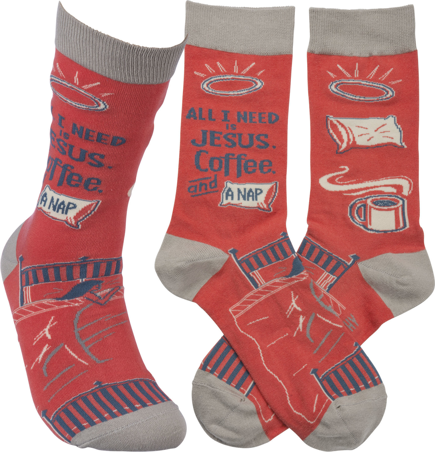 All I Need Is Jesus, Coffee, And Naps Socks by Primitives by Kathy