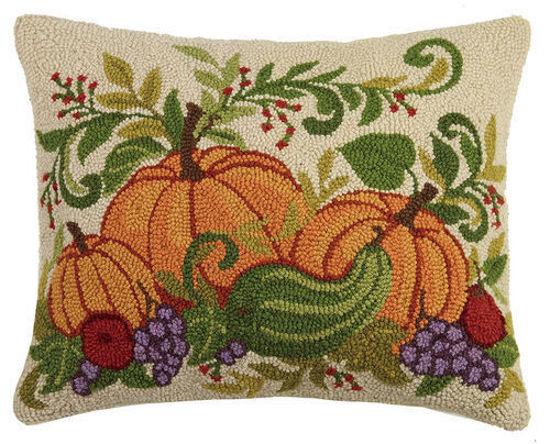 Fall Harvest Pumpkins Pillow by Peking Handicraft