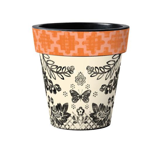 "Orange Aztec 15"" Art Pot by Studio M"