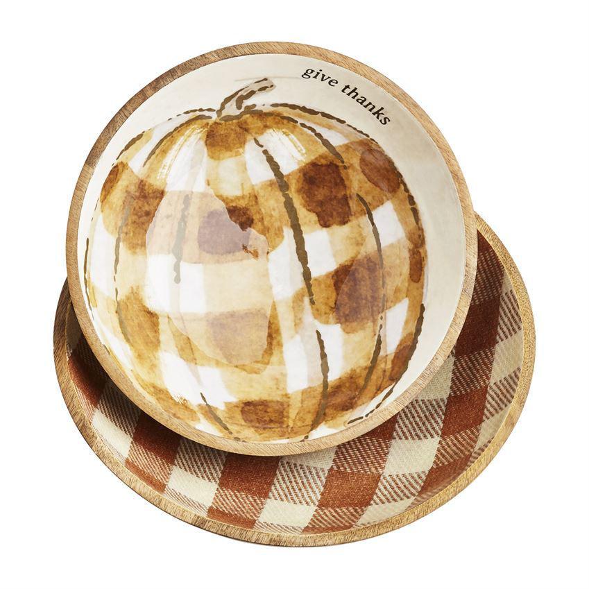 Check Pumpkin Enamel Bowls by Mudpie