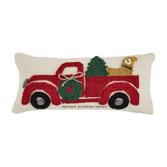 Christmas Truck Hooked Pillow by Mudpie