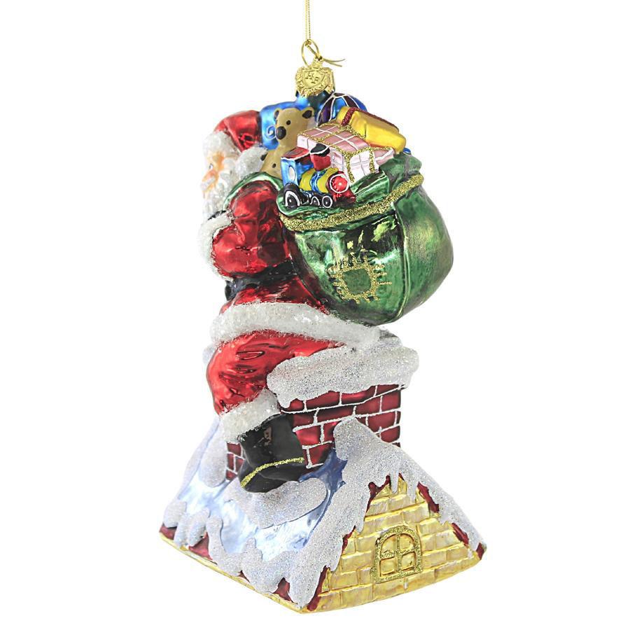 Santa on Chimney Ornament by Huras Family