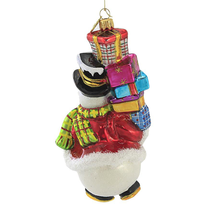Snowman with Pile of Packages Ornament by Huras Family