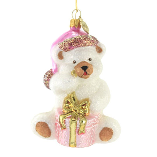 Teddy Bear with Present (Pink) Ornament by Huras Family