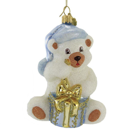 Teddy Bear with Present (Blue) Ornament by Huras Family