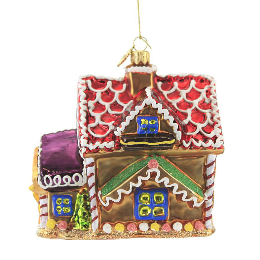 Gingerbread House with Red Roof Ornament by Huras Family