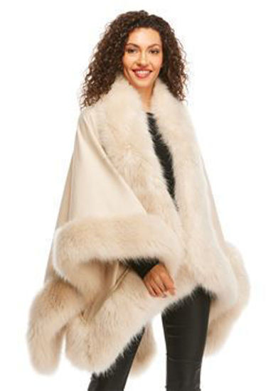 Fur Trimmed Shawl Champagne Fox by Donna Salyers Fabulous Furs