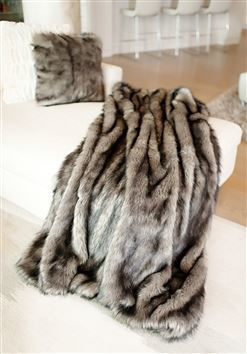 Grey Wolf Faux Fur Throw by Donna Salyers Fabulous Furs