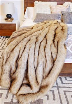 Taupe Fox Faux Fur Throw by Donna Salyers Fabulous Furs