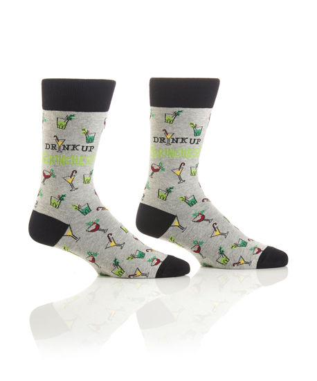 Drink Up Grinches Men's Crew Socks by Yo Sox