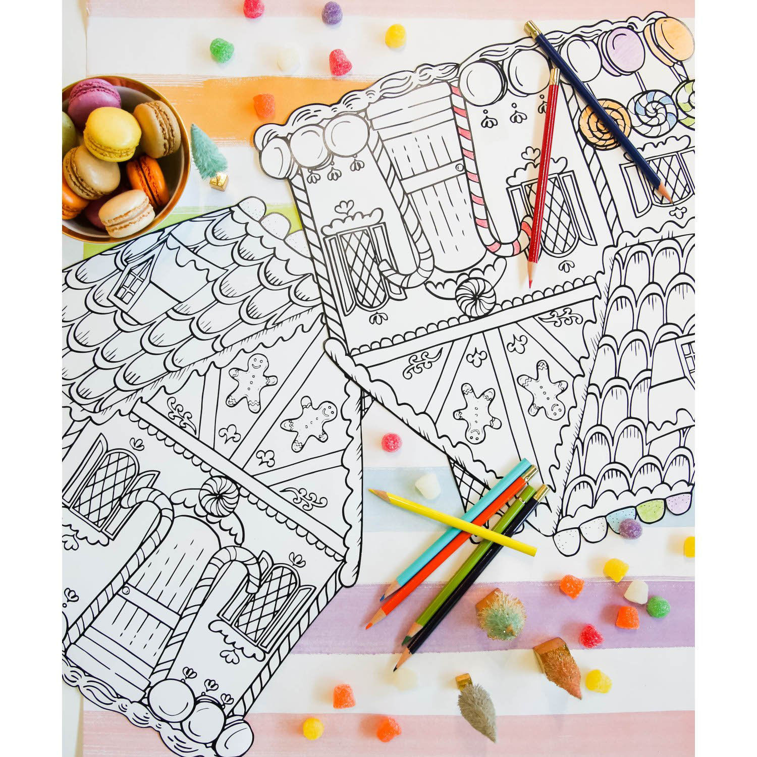 Die-Cut Gingerbread House Coloring Placemat by Hester & Cook