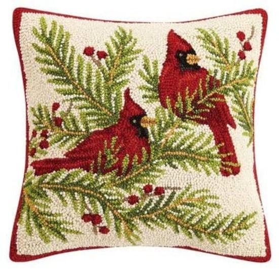 Cardinals Hook Wool Pillow by Peking Handicraft