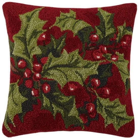 Holly Hook Wool Pillow by Peking Handicraft