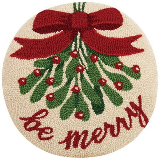 Be Merry Mistletoe Hook Wool Pillow by Peking Handicraft