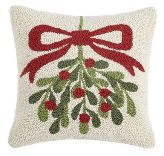 Mistletoe Square Hook Wool Pillow by Peking Handicraft