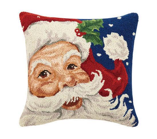 Santa Hook Wool Pillow by Peking Handicraft