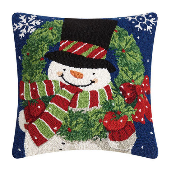 Snowman with Wreath Pillow by Peking Handicraft