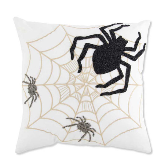 """Spiders & Web 18"""" Embroidered Square Pillow by K & K Interiors"""