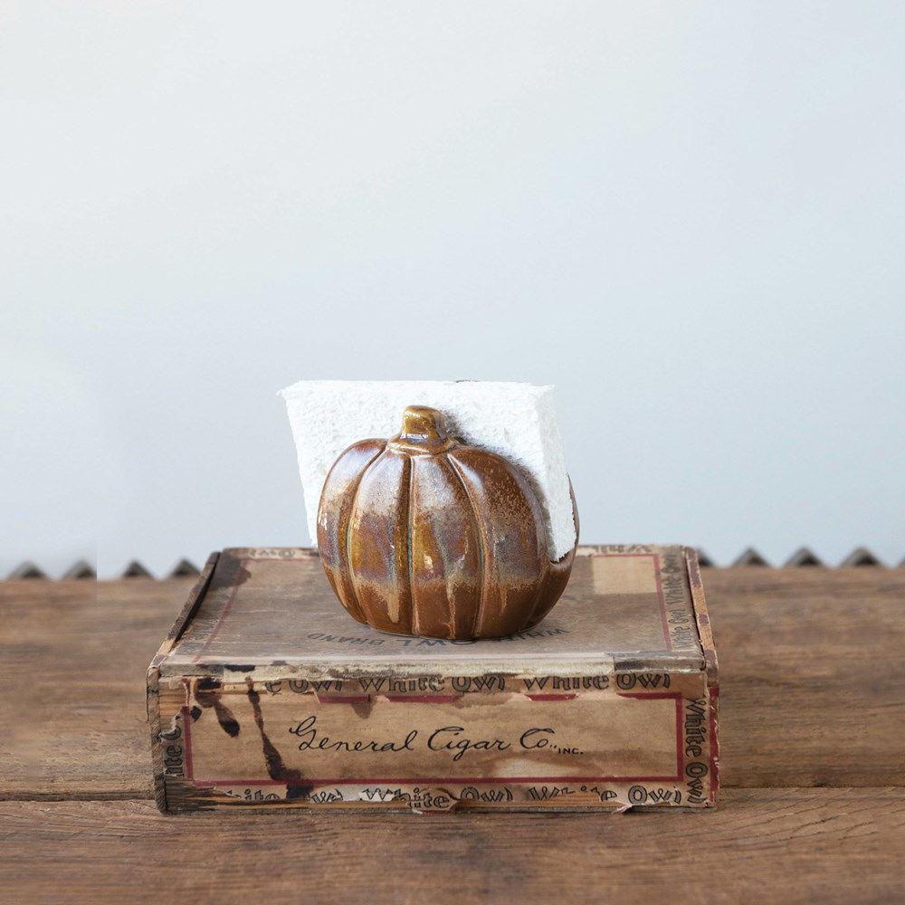Stoneware Pumpkin Sponge Holder by Creative Co-op