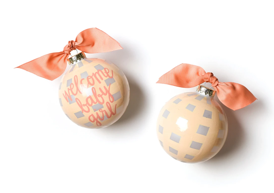 Welcome Baby Girl Gingham Ornament by Coton Colors