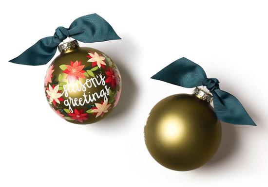 Season's Greetings Poinsettia Ornament by Coton Colors