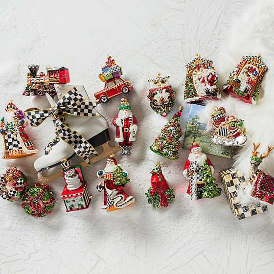Tree Farm Santa Glass Ornament by MacKenzie-Childs
